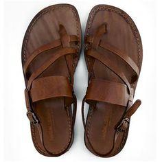 Sandalo zinzulusa cognac da uomo