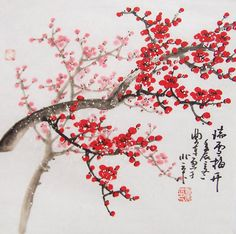 Cherry Blossom paintings Original  chinese  painting oriental art watercolour-Lovely cherry blossom tree No.69 via Etsy
