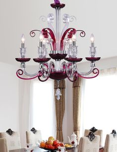 Maite 6-Light chandelier (Purple) Purple Chandelier, Glass Chandelier, Chandelier Lighting, Chandeliers, Contemporary Light Fixtures, Contemporary Style, Fan Decoration, Hello October, Traditional Decor