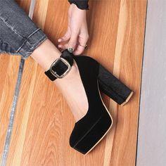 36a40688329 Val Velvet Platform Chunky Heel Pumps 4 Colors - Savage Garb Chunky Heel  Pumps