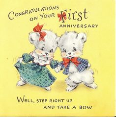 Vintage Anniversary Card First Anniversarywedding Anniversniversary Greetingsvintage