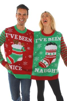 Naughty and Nice Two. A naughty and nice, two person ugly christmas sweater.How To Style Up Your Christmas Sweaters? – Thefashiontamer throughout Ugly Couple Ugliest Christmas Sweater Ever, Couples Christmas Sweaters, Matching Christmas Sweaters, Couple Christmas, Diy Ugly Christmas Sweater, Ugly Sweater Party, Christmas Time, Christmas Outfits, Merry Christmas