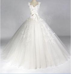 Ball Gown Sweetheart Chapel Train satin/Organza Wedding Dress. $229.00, via Etsy. (Yes yes, way POOF but hush! It's fun! lol )