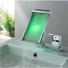 Drei Farbwechsel LED Glas Wasserfall Wasserhahn