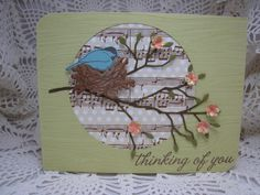 This card is for several challenges - A Blog Named Hero (colors), Hero Arts (thinking of you) and Memory Box (die cut).  HA stamps, Memory Box and Impression Obsession dies, MS hydrangea punch, PTI music pp and Mememto rich cocoa and Versamark inks.