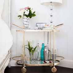 Admiring @caitlinclairexo's genius use of this beautiful bar cart as a bedside table!!