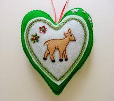 Felt Fawn Heart Ornament / Deer Woodland by heartfeltwhimsy