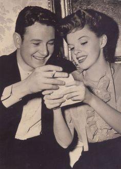 Tom Drake and Judy Garland in between scenes of Meet Me In St. Louis.