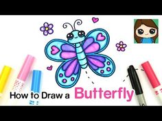 How to Draw a Butterfly Easy Easy Butterfly Drawing, Cartoon Butterfly, Cute Butterfly, Kawaii Drawings, Disney Drawings, Cartoon Drawings, Easy Drawings, Cartoon Network Characters, Youtube Drawing