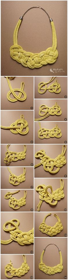 DIY Seil Kette Verknotete Halskette mapapi-and-friend . DIY Seil Kette Knotted Necklace mapapi-and-friend… DIY Seil Kette Verknotete Halskette mapapi-and-friend … Jewelry Knots, Macrame Jewelry, Fabric Jewelry, Jewelry Crafts, Handmade Jewelry, Macrame Necklace, Wire Earrings, Macrame Colar, Diy Collier