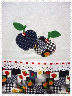 Artesanatos Ana Lu: Pano de prato maçãs Telma