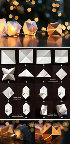 GUIRLANDE ORIGAMI LUMINEUSE CADEAU Origami fairy lights ! I love those, I should try to make one someday :)