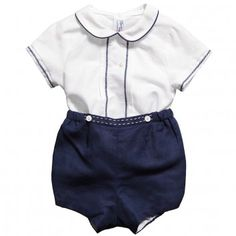Mayoral Baby Boys Navy Blue Linen & Cotton Blend Buster Suit