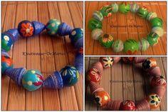 """Armband """"Natur"""" in den Farben grün/orange/blau von Kreativoase - DeMarras auf DaWanda.com"""