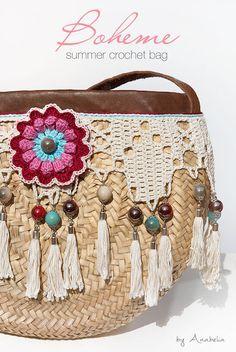 Bohemian style crochet summer bag - Anabelia Craft Design