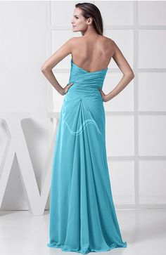 Elegant Sleeveless Chiffon Floor Length Split-Front Bridesmaid Dresses.. Here's the back view
