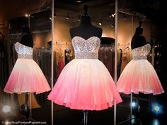 This sweet little dress features a heavy AB Rhinestone beaded bodice and a White/Pink Ombre full organza short skirt with Back Zipper. Perfect for homecoming or any formal and any age and it's at Rsvp Prom and Pageant, Atlanta, GA - 116HS0279160308