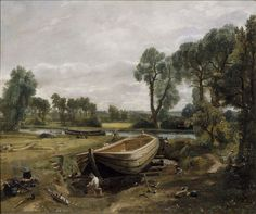 Boat-Building near Flatford Mill, John Constable, 1815.  Visit the real Flatford Mill http://www.nationaltrust.org.uk/flatford-bridge-cottage/