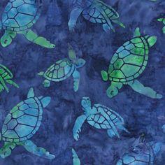 Fabric Kaufman Totally Tropical Batik Sea Turtles  by fabricsmart