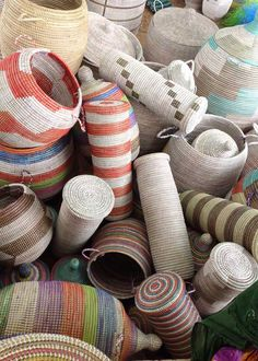 Basket designs from Senegal. We are always working with new shapes and patterns!