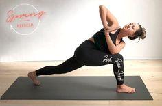 Yoga pose high lunge twist