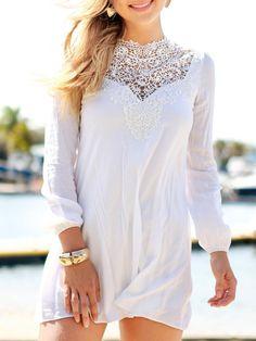 White Lace Panel Long Sleeve Chiffon Dress