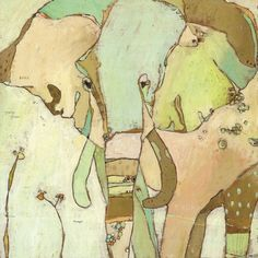 Soft muted colors on the elephant canvas art from Oopsy Daisy.