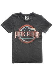 Amplified crew neck charcoal cotton tee featuring a large, distressed 'On the Run' print from iconic band 'Pink Floyd'.  Each t-shirt is unique with a vintage finish and mini ribbed neckline.  There is contrast stitching and raw edge detail around the collar, sleeves and bottom hem line.  This is a slim fitting design.    100% cotton.  Machine Washable at 30 degrees.