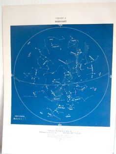 February Constellations Star Chart Blue Print Birthday Gift To Frame Space Theme Childs Bedroom