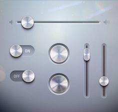 金属质感按钮开关-矢量素材-科技-矢量