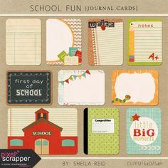 School Fun Journal Cards Kit | pocket cards, journal cards, project life, printable, scrapbooking, digital scrapbooking