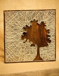 tree silhouette string art diy decoration ideas nice use of negative space Fun Crafts, Diy And Crafts, Arts And Crafts, Wood Crafts, String Art Diy, Nail String, Arte Linear, Cuadros Diy, Diy Wall