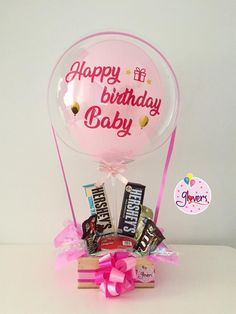 Happy Birthday Logo, Cute Birthday Gift, Birthday Diy, Big Gift Boxes, Diy Gift Box, Diy Gifts, Candy Gift Baskets, Candy Gifts, Gift Bouquet