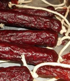 Jerky Recipes, Venison Recipes, Simple Beef Jerky Recipe, Venison Sticks Recipe, Venison Snack Stick Recipe, Snack Sticks Recipe, Homemade Sausage Recipes, Dried Sausage Recipe, Cheese