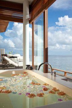 The Alila Villas Hadahaa by SCDA Architects. I would love this bathroom