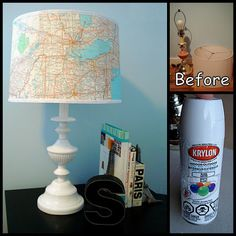 Cowie's Craft & Cooking Corner: Lamp Makeover With A Map