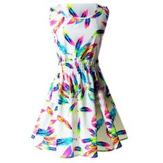 Women's Neon Feather Print Sleeveless A-Line Skater Dress - S ($7.90) ❤ liked on Polyvore featuring dresses, no sleeve dress, a line shape dress, skater dress, feather print dress and a line silhouette dress