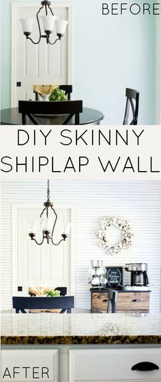 How to get the skinnylap Fixer Upper look with DIY skinny shiplap. Get the tutorial for this easy thin plank wall! Great idea for a feature wall!