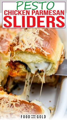 Whether you're tailgating, hosting a party, or just looking for a tasty sandwich, these Pesto Chicken Parmesan Sliders are drool-worthy and perfectly cheesy! These Pesto Chicken Parmesan Sliders can be made extra fancy by brushing up on these cooking techniques and making everything from scratch. | @foodabovegold #bestsliderrecipes #chickenparmesanrecipe #easyfamilydinnerrecipe #quickdinnerideas #gamedayfood Lunch Recipes, Appetizer Recipes, Beef Recipes, Chicken Recipes, Dinner Recipes, Dinner Ideas, Wrap Recipes, Sandwich Recipes, Baking Recipes