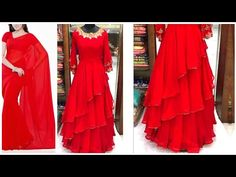 Convert old Sari Into high- low gown /high -low gown New Design Gown, Simple Gown Design, Frock Design, Long Gown Dress, Sari Dress, Saree Blouse, Chiffon Dress, Frock Patterns, Dress Sewing Patterns