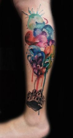 41. Up - 45 #Incredible Watercolor #Tattoos ... → #Beauty #Tattoo