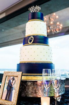 Love Wedding Cakes Our Navy Blue and Gold Wedding Cake Table Sarita & Charles Navy Blue And Gold Wedding, Purple Wedding, Wedding Colors, Dream Wedding, Navy Gold, White Wedding Cakes, Beautiful Wedding Cakes, 50th Wedding Anniversary, Wedding Planning