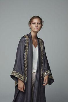 Abaya with metallic gold embroidery Abaya Fashion, Ethnic Fashion, Modest Fashion, Fashion Outfits, Womens Fashion, Embroidery Online, Gold Embroidery, Fashion Drawing Dresses, Kimono Design