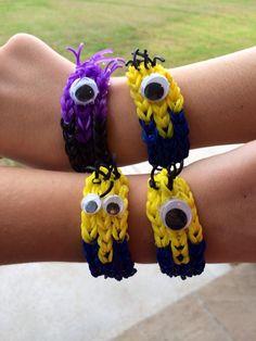 Minion family Rainbow Loom bracelets