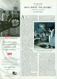 Why I Wrote 'The Crucible,' Arthur Miller, The New Yorker, October 21, 1996. #salemwitchtrials #redscare