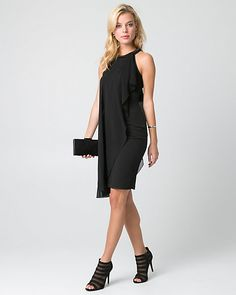 Chiffon & Ponte Halter Cocktail Dress - A smooth chiffon overlay brings ethereal elegance to a timeless cocktail dress finished with a halter neckline. Corsage, Gala Dresses, Formal Dresses, Black Wardrobe, Black Leggings, Chiffon Dress, Black Tops, Bridesmaid Dresses, Bridesmaids