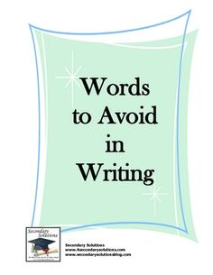 "This list of ""Words To Avoid"" gives students a clear list ""dead"" words which should be avoided in essay writing. This could be an assignment- if you can write a whole essay without using certain words, you get extra credit. Writing Words, Writing Advice, Writing Resources, Teaching Writing, Writing Help, Writing Skills, Essay Writing, Teaching English, Writing A Book"