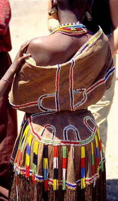 Africa | Details; beaded dress worn by a Dagota woman.  Tanzania | ©Tineke Speelman