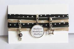 Bracelet liberty médaille prénom(s) ou message - noir beige blanc, pois et…