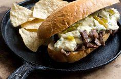 """Green chile cheese steak sandwich from Homesick Texan - Eat Your Books is an indexing website that helps you find & organize your recipes. Click the """"View Complete Recipe"""" link for the original recipe. Mexican Food Recipes, Beef Recipes, Beef Tips, Savoury Recipes, Mexican Dishes, Cheese Steak Sandwich Recipe, Fresco, Hatch Chili, Wrap Sandwiches"""